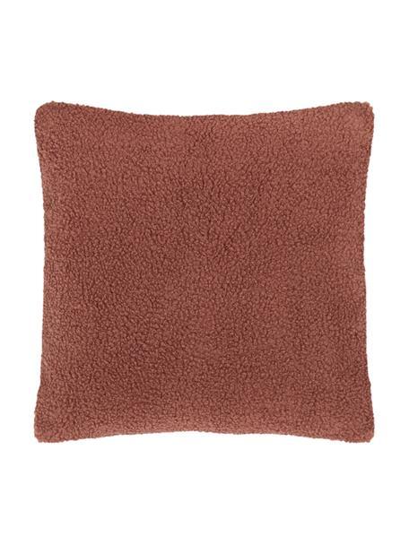 Zachte teddy kussenhoes Mille, Terracottakleurig, 45 x 45 cm