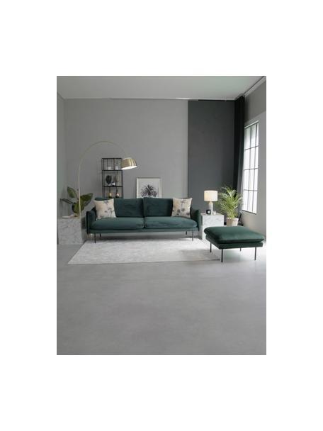 Poggiapiedi da divano in velluto verde scuro Moby, Rivestimento: velluto (copertura in pol, Struttura: legno di pino massiccio, Piedini: metallo verniciato a polv, Velluto verde scuro, Larg. 78 x Alt. 48 cm