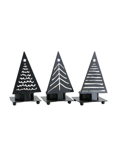 Komplet świeczników na podgrzewacze Stamp, 9 elem., Metal powlekany, Czarny, S 6 x W 11 cm