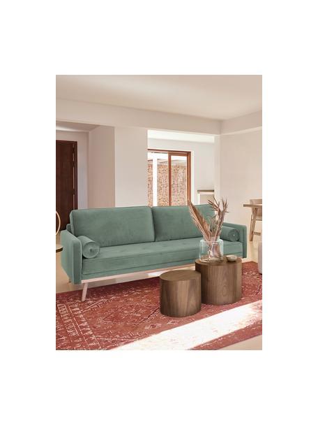 Sofa z aksamitu z nogami z drewna dębowego Saint (3-osobowa), Tapicerka: aksamit (poliester) Dzięk, Aksamitny szałwiowy zielony, S 210 x G 93 cm
