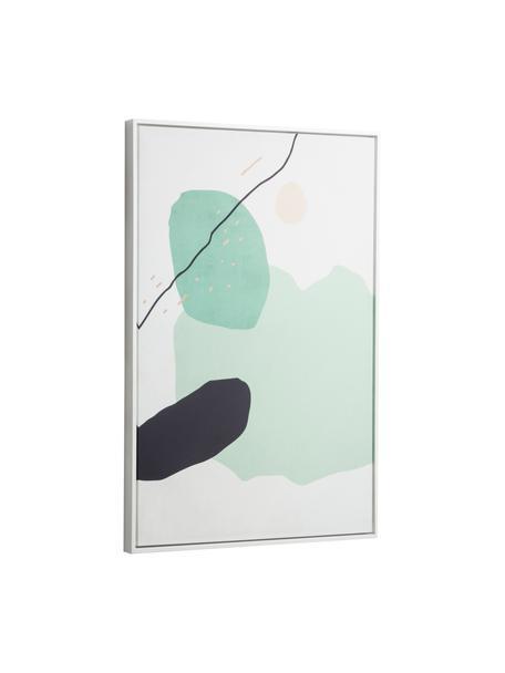 Ingelijste digitale print Xooc, Lijst: gecoat MDF, Afbeelding: canvas, Wit, groen, zwart, 60 x 90 cm
