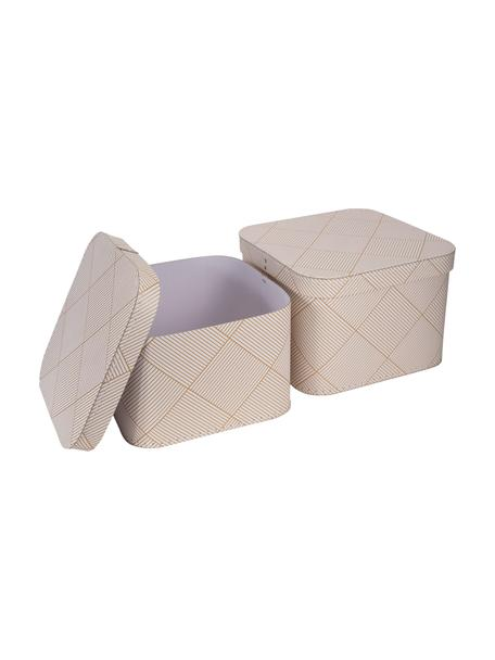 Aufbewahrungsboxen-Set Ludvig, 2-tlg., Fester, laminierter Karton, Goldfarben, Weiss, Set mit verschiedenen Grössen
