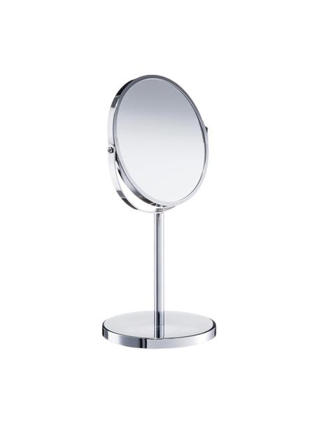 Runder Kosmetikspiegel Flip mit Vergrösserung, Spiegelfläche: Spiegelglas, Silberfarben, Ø 17 x H 35 cm