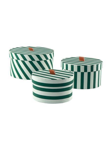 Opbergdozenset Dizzy, 3-delig, Karton, Groen, Set met verschillende formaten