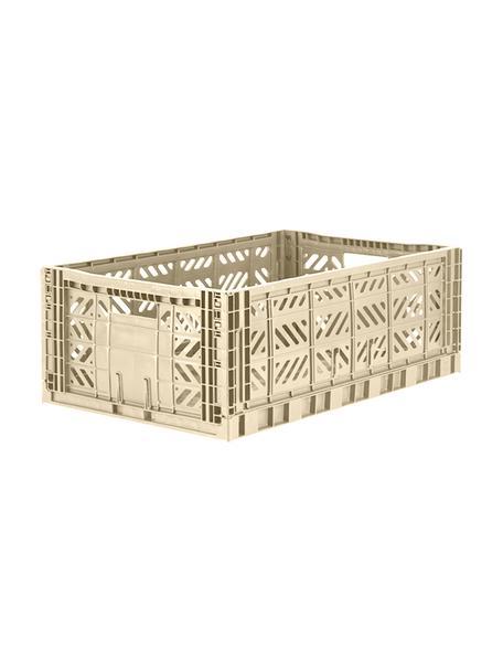 Klappbox Boulder, stapelbar, gross, Recycelter Kunststoff, Beige, 60 x 22 cm