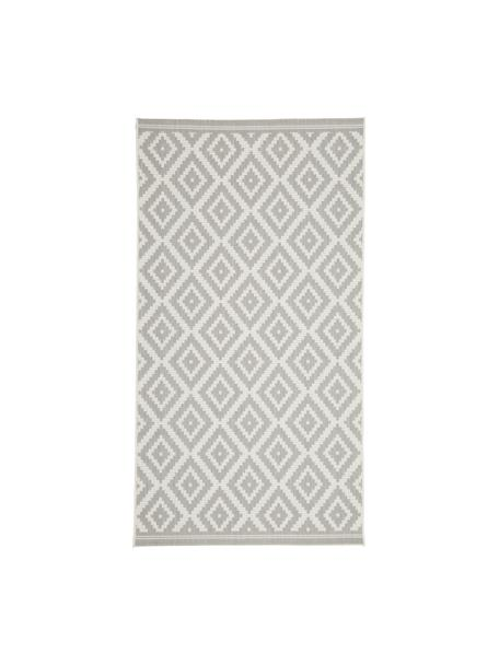 Gemusterter In- & Outdoor-Teppich Miami in Grau/Weiß, 86% Polypropylen, 14% Polyester, Cremeweiß, Grau, B 80 x L 150 cm (Größe XS)