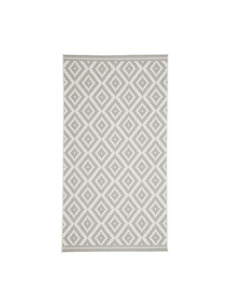 Tappeto a righe color grigio/bianco da interno-esterno Miami, 86% polipropilene, 14% poliestere, Bianco crema, grigio, Larg. 80 x Lung. 150 cm (taglia XS)