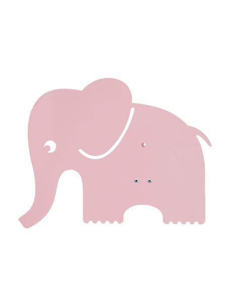 Wandlamp Elephant met stekker, Gepoedercoat metaal, Lichtroze, 33 x 29 cm