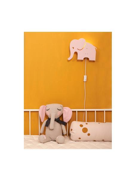 Aplique Elephant con enchufe, Metal con pintura en polvo, Rosa claro, An 33 x Al 29 cm