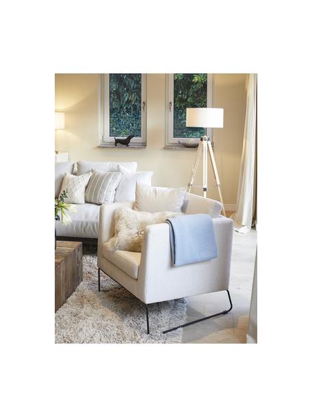 Klassischer Sessel Milo in Beige mit Metall-Füssen, Bezug: Hochwertiger Polyesterbez, Gestell: Kiefernholz, Beine: Metall, lackiert, Webstoff Beige, B 77 x T 75 cm