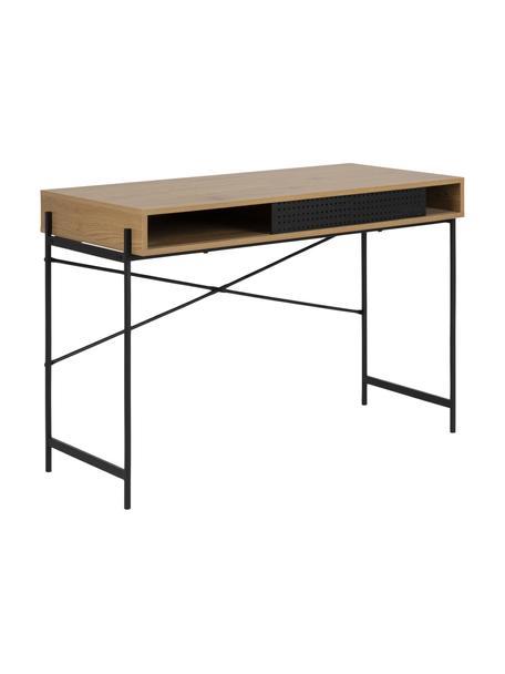 Bureau Angus van wild eiken fineer, Tafelblad: MDF met wild eikenfineer, Frame: gecoat metaal, Bruin, zwart, 110 x 50 cm