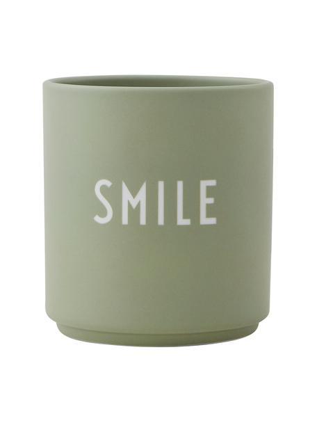 Taza con frase de diseño Favourite SMILE, Porcelana fina de hueso (porcelana) Fine Bone China es una pasta de porcelana fosfática que se caracteriza por su brillo radiante y translúcido., Verde, blanco, Ø 8 x Al 9 cm
