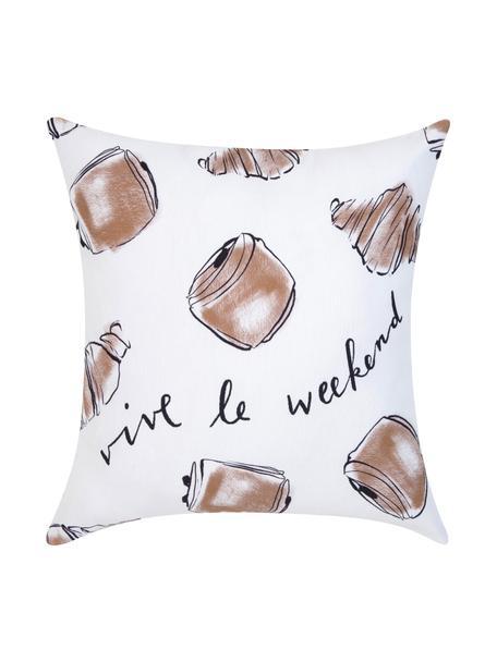 Design kussenhoes Croissant van Kera Till, Katoen, Wit, bruin, 40 x 40 cm