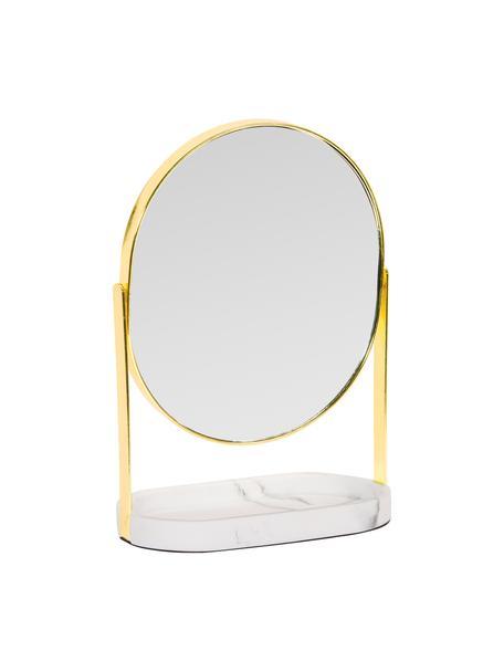 Kosmetikspiegel Bello mit Vergrößerung, Rahmen: Metall, Sockel: Polyresin, Spiegelfläche: Spiegelglas, Goldfarben, 18 x 26 cm