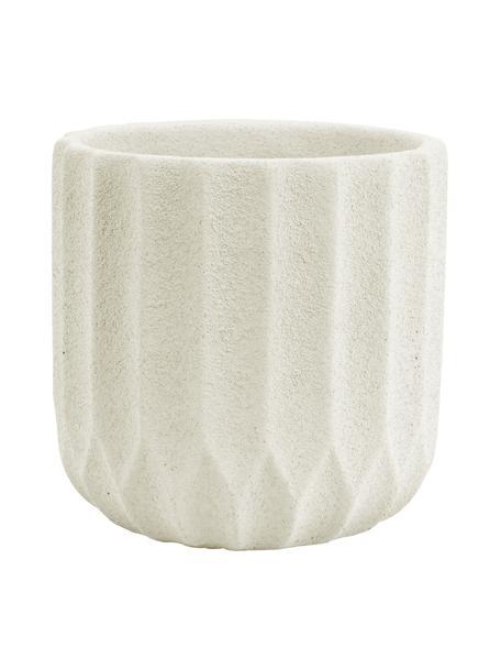 Kleine plantenpot Stripes van beton, Betonkleurig, Beige, Ø 15 x H 15 cm