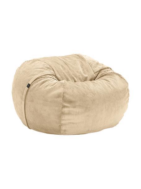 Pouf sacco in velluto a coste Velours, Rivestimento: 88% nylon, 12% poliestere, Beige, Ø 110 x Alt. 70 cm