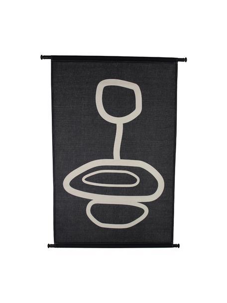 Wandobjekt Organic, Leinwand, Kunststoff, Schwarz, Weiß, 83 x 110 cm
