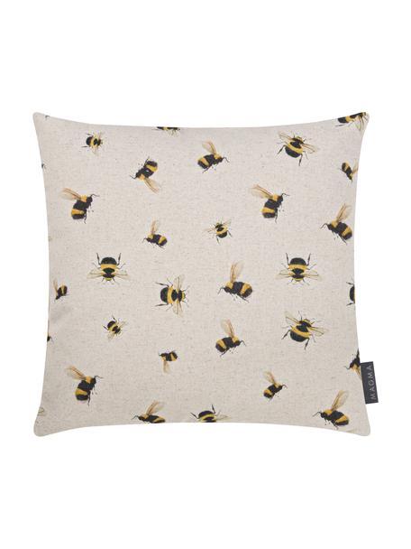 Dubbelzijdige kussenhoes Biene, 85% katoen, 15% linnen, Beige, geel, zwart, 40 x 40 cm