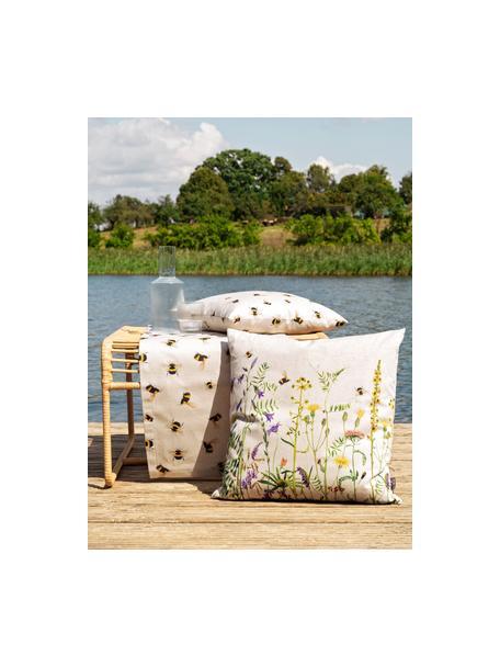 Dwustronna poszewka na poduszkę Biene, 85% bawełna, 15% len, Beżowy, żółty, czarny, S 40 x D 40 cm