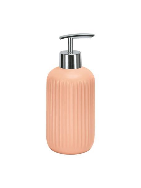 Dosificador de jabón de gres Mallow, Recipiente: gres, Dosificador: metal, Salmón, Ø 7 x Al 17 cm