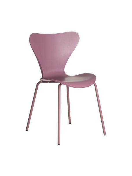 Stapelbare kunsstoffen stoelen Pippi, 2 stuks, Zitvlak: polypropyleen, Poten: gecoat metaal, Paars, B 47 x D 50 cm