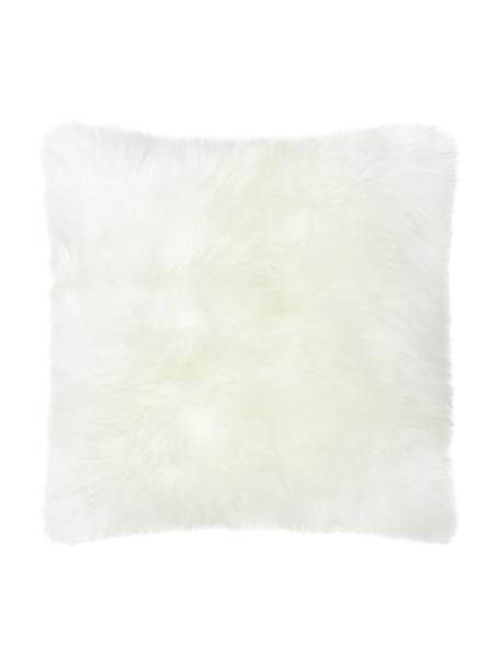 Funda de cojín de piel de oveja Oslo, Parte delantera: 100%piel de oveja, Parte trasera: lino, Blanco crema, An 40 x L 40 cm