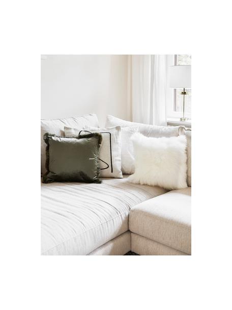 Poszewka na poduszkę ze skóry owczej Oslo, Kremowobiały, S 40 x D 40 cm