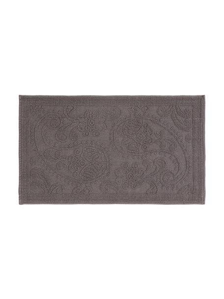 Tappeto bagno grigio con motivo floreale Kaya, 100% cotone, Grigio, Larg. 50 x Lung. 80 cm