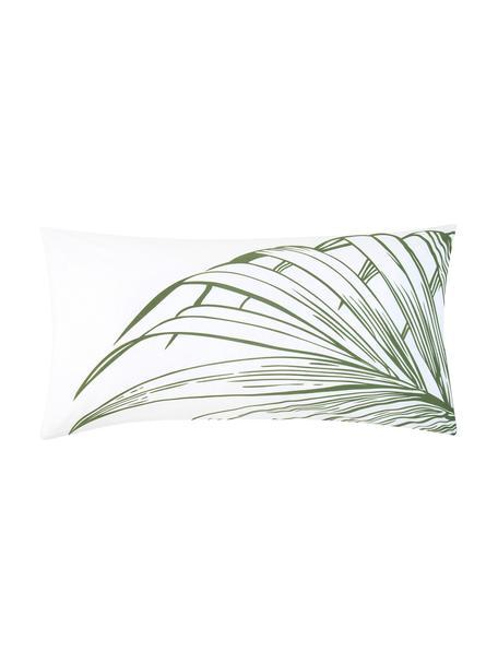 Baumwoll-Kissenbezüge Alessa mit Blätterprint, 2 Stück, Webart: Renforcé Fadendichte 144 , Weiss, Hellgrün, Dunkelgrün, 40 x 80 cm