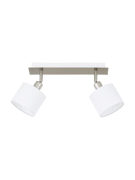 Klassieke plafondspot Casper, Baldakijn: vernikkeld metaal, Zilverkleurig, wit, 32 x 7 cm