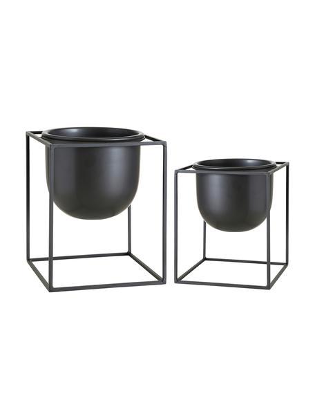 Kleines Übertopf-Set Kumbo aus Metall, 2-tlg., Metall, beschichtet, Schwarz, Sondergrößen