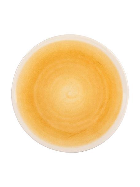 Handgemachte Frühstücksteller Pure matt/glänzend mit Farbverlauf, 6 Stück, Keramik, Gelb, Weiß, Ø 21 cm