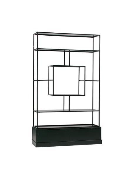 Metalen wandrek Fons met opbergruimte, Frame: gelakt metaal, Zwart, 126 x 204 cm