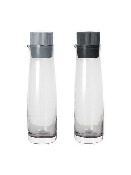 Azijn- en oliedispenserset Olvigo van glas, 2-delig, Sluiting: silicone, Grijs, Ø 5  x H 18 cm