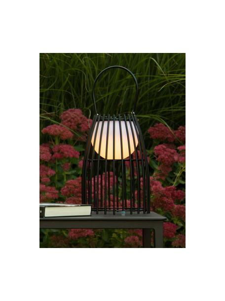 Mobile Dimmbare Außentischlampe Fjara, Lampenschirm: Kunststoff, Schwarz, Weiß, Ø 18 x H 25 cm