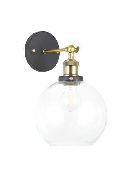 Grote wandlamp New York Loft No.2, Lampenkap: glas, Frame: messing, Zwart, messingkleurig, transparant, 20 x 35 cm