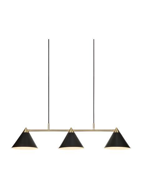 Lámpara de techo grande Klint, Estructura: metal recubierto, Anclaje: metal recubierto, Cable: cubierto en tela, Negro, dorado, An 99 x Al 21 cm