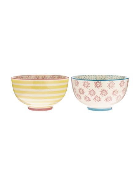 Set 2 ciotole dipinte a mano Patrizia, Ceramica, Multicolore, Ø 12 x Alt. 7 cm