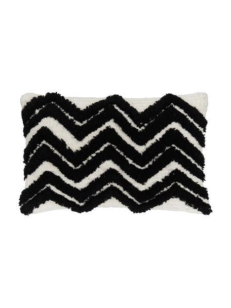 Boho kussenhoes Akesha met getuft zigzagpatroon, 100% katoen, Ecru, zwart, 30 x 50 cm