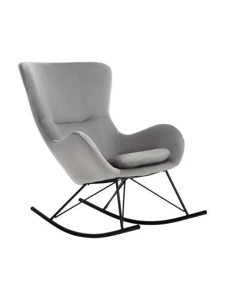 Fluwelen schommelstoel Wing in grijs met metalen poten, Bekleding: fluweel (polyester), Frame: gegalvaniseerd metaal, Fluweel grijs, zwart, B 76 x D 108 cm