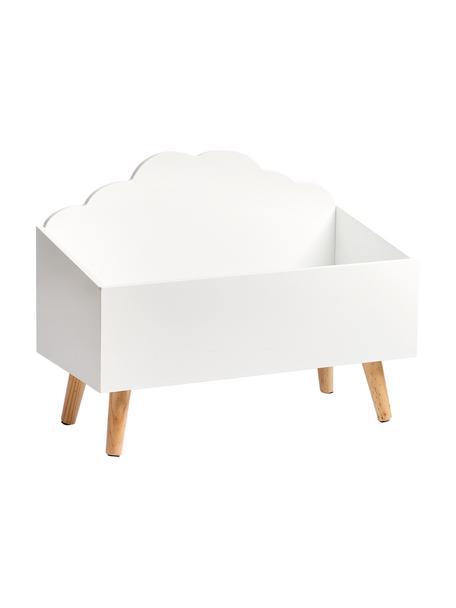Skrzynka do przechowywania Wolke, Nogi: drewno kauczukowe, Biały, beżowy, S 58 x W 45 cm