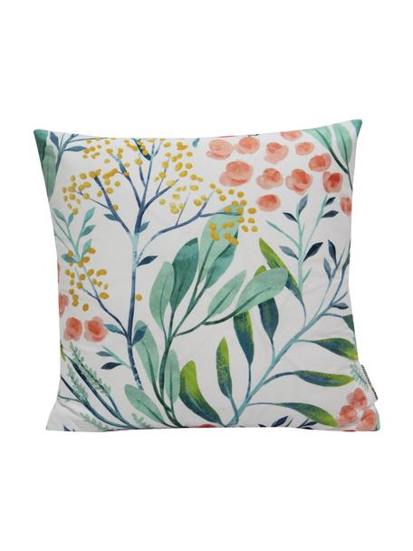 Kissenhülle Meadow mit Blumenmuster, 100% Polyester, Weiß, Mehrfarbig, 40 x 40 cm