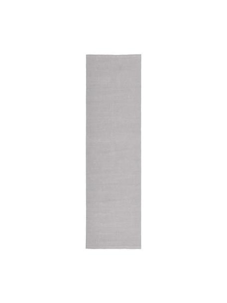 Dünner Baumwollläufer Agneta, handgewebt, 100% Baumwolle, Grau, 70 x 250 cm