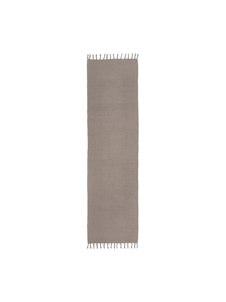 Alfombra artesanal de algodón Agneta, 100%algodón, Gris, An 70 x L 250 cm