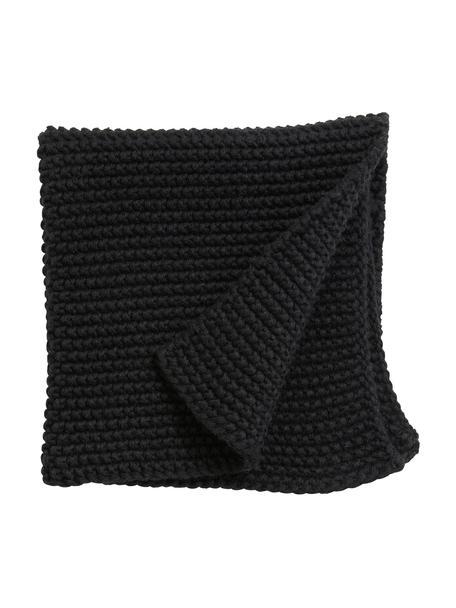 Presine a maglia in cotone bio Merga 6 pz, 100% realizzato in cotone biologico certificato GOTS, Nero, Larg. 27 x Lung. 27 cm