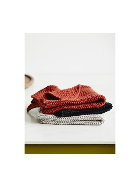 Gestrickte Spültücher Merga aus Bio-Baumwolle, 6 Stück, 100% aus GOTS-zertifizierter Bio-Baumwolle, Schwarz, 27 x 27 cm