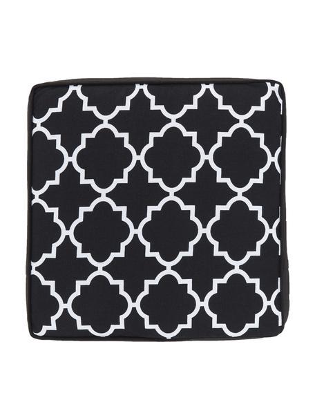 Stoelkussen Lana in zwart, wit, Zwart, 40 x 40 cm