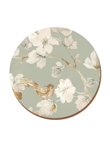 Onderzetters Duck Egg met bloemenpatroon, 4 stuks, Kurk, Grijs, wit, beige, Ø 12 cm