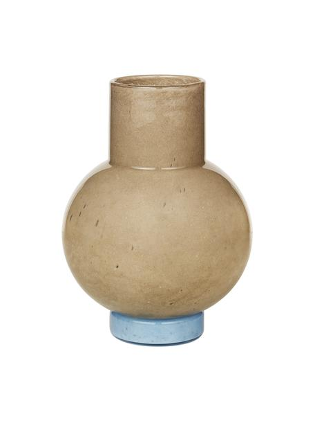 Mundgeblasene Vase Mari in Beige/Blau, Glas, mundgeblasen, Beige, Blau, 14 x 2 cm
