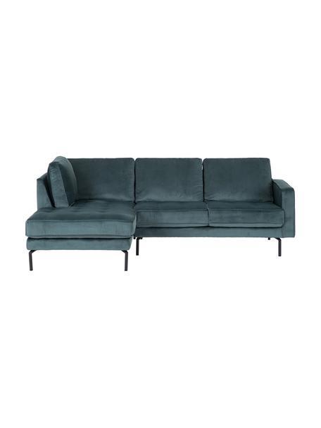 Sofa narożna z aksamitu Gabriela, Tapicerka: aksamit poliestrowy Należ, Nogi: metal lakierowany, Zielony, S 230 x G 148 cm